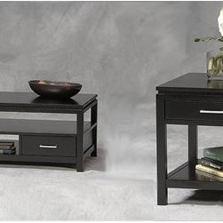 "Linon - Sutton Plasma Coffee Table Set - With a sleek black finish and durable MDF construction, the Sutton Black Plasma Coffee Table and End Table Set is the perfect addition to a living room or den! This duo drawers for enclosed storage for items like magazines, coasters, and more, as well as open storage for things that can be stacked. Features: -MDF construction. -Black finish. Dimensions: -Coffee table dimensions: 16"" H x 44"" W x 22"" D. -End table dimensions: 20"" H x 19.5"" W x 19.5"" D."