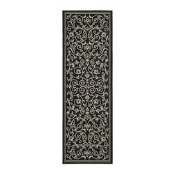 Safavieh - Transitional Runner Rug in Black and Sand - Specially-developed sisal weave. Power loomed. Intricate and elaborated design. Machine made. Made from polypropylene. Made in Belgium. 9 ft. 11 in. L x 2 ft. 4 in. W. Safavieh takes classic beauty outside of the home with the launch of their Courtyard Collection. Care Instructions: Vacuum regularly. Brushless attachment is recommended. Avoid direct and continuous exposure to sunlight. Do not pull loose ends; clip them with scissors to remove. Remove spills immediately; blot with clean cloth by pressing firmly around the spill to absorb as much as possible. For hard-to-remove stains professional rug cleaning is recommended.