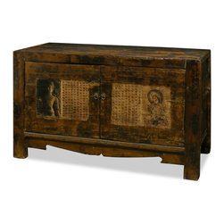 """China Furniture and Arts - Elmwood Zen Cabinet - Sporting a weathered and worn look, this unique cabinet's doors display gorgeous images of Kwan Yin accompanied by ancient Chinese texts on a vibrant dark-red background. A spacious center compartment measuring 51""""W x 14.5""""D x 18""""H provides ample storage space and also contains a removable shelf for storage convenience. Perfect as a sideboard in the dining room or media cabinet in the living room (cable outlets can be made upon request). Completely hand constructed of Elmwood, it is a one-of-a-kind item and will last for generations to admire. Fully assembled.(Displayed accessories are not included.)"""