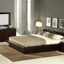 Lifestyle Solutions - Zurich 5 Pc Bedroom Set (Queen) - Choose Size: QueenCreate your perfect modern bedroom with just a few clicks!  This attractive five piece Zephyr bedroom set comes with your choice of colors  for the nightstand, dresser, landscape mirror, and elegant platform bed.  You'll want breakfast in bed in this richly finished Cappuccino bedroom set.  Complete with sturdy platform bed, uniquely styled three-drawer nightstand, spacious six-drawer dresser and a matching crystal clear accent mirror, this beautiful bedroom set is the ultimate in contemporary style and grace.  Contemporize your bedroom space with this deftly constructed 5-piece platform bedroom set. Includes platform bed, dresser, mirror and two nightstands. Solid wood frame, side rails and center support legs bed. Center support bar for superior strength and durability. 13-slat pack included for exceptional mattress support. Beveled mirror. 3.15 in. frame thickness. Nightstand with three drawers. Dresser with six drawers. Felt-lined top drawers. English dovetail joints. Solid wood drawer boxes. Hand-sanded and stained interiors for all drawers. Reinforced corner wood blocks. Center support rails for drawers. Euro glides. Stained, recessed and screwed on back panels. Bottom dust panels. Certified for compliance with International Tropical Timber Organization (ITTO). Made from tropical hardwood solids and veneers. Eight-step cappuccino finish with durable protective lacquer. Queen bed: 90.75 in. L x 72.25 in. W x 31.50 in. H. Eastern king bed: 90.75 in. L x 88.33 in. W x 31.50 in. H. Mirror: 47.25 in. W x 33.5 in. H. Nightstand: 27.5 in. W x 20.87 in. D x 18.66 in. H. Dresser: 66 in. W x 20.87 in. D x 27.64 in. H. Warranty