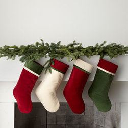 Horchow - Red Stocking with Cream Cuff, Plain - Exclusively ours. We love the elegant simplicity of these red, green, and cream stockings. Personalized in metallic gold or metallic silver, they add the perfect finishing touch to holiday decor. Made of cotton velvet. For personalization in style s...