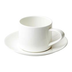 Asa Selection - Table Stackable Coffee Cup and Saucer - This minimal cup and saucer set is made of extra durable fine bone china. You could pair this with a variety of table linens and flatware patterns, from casual to formal.
