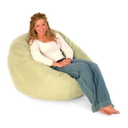 "3 ft. Premier Micro Suede Fuf Foam Lounger Bean Bag Chair - At first glance the """"Fuf Chair"""" would appear to be a bean bag, but don't be fooled! Just experience the patented foam filled """"Fuf Chairs"""" and you will be certain of the difference. The secret is inside the chair. The patented foam filling engulfs one in a soothing cushion of foam. This soft, long-lasting material does not break down over time like a traditional bean bag. Add to that the plush Ultrasuede fabric and you have the ultimate in comfort all in one bag. An optional liner is available. The liner contains foam filling, allowing outer cover removal for washing. If a liner is not ordered, the cover cannot be removed, as the zipper is locked for safety. In accordance with the Consumer Product Safety Commission, this bean bag features a resealable safety closure. The closure seals each zipper and protects children from the age of 12 and younger. About Passion Suede Ultra-fine, tightly woven fibers give Passion Suede the look and durability of leather without the related hassle. Spot-clean or toss it in your washing machine without fear of fading or shrinkage. Unlike comfort suede and other microfibers, Passion Suede is almost indesctructible. Soft, sumptuous, and easy to clean -- it will remain plush, with brilliant color despite frequent laundering. With Passion Suede, you always get back what you put in. Fuf-ing 101 A seat sapped of its sedentary charms can sully your sitting experience, but even the most ferocious flattening is no match for the resilience of a Fuf Foam Lounger. Revitalizing your chair is simple: grab it by the seams, and toss it into the air while rotating your arms clockwise. Repeat five times or until you have sufficiently Fuf-ed the life back into your puffy place to sit. The more time you spend relishing the foamy goodness of your Fuf chair, the more frequently you'll have to Fuf. This means, if you're anything like us, you'll be doing a fair amount of Fuf-ing. About Comfort ResearchTen years ago Comfort Research created the Fuf chair, an innovative update on the classic bean back chair made of patented Fuf foam. This special blend of foam never goes flat for long-lasting comfort. Based in Grand Rapids, Michigan, Comfort Research has recently developed several new lines of creative, inventive chairs. They have addressed the needs of eco-friendly consumers by creating incredibly comfortable """"green"""" chairs; one style is made with buckwheat filling and organic cotton, the other uses recycled polystyrene filling and a special fabric made of recycled pop bottles. No matter which style or shape of chair you choose, you can be sure that your Comfort Research product will look great and stay comfortable for years to come. For Best Use: While sitting in this bag, please turn it up on its side so the seams run vertically, not horizontally. If this is not done the bag will appear flat like a pancake."