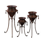Benzara - Metal Planter with Stand - Set of 3 - If you are looking for low cost but rare to find elsewhere utility- decor item to bring extra galore that could refresh the decor appeal of short spaces in garden porch, beautifully carved 73586 METAL PLANTR W STAND S/3 a set of three is one such decorative item.