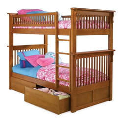 Atlantic Furniture - Colorado Twin Over Twin Bunk Bed w Flat Panel - NOTE: ivgStores DOES NOT offer assembly on loft beds or bunk beds. Includes upper and lower bunk panels, rails, clip-on ladder, 2 slat kits and flat panel drawers. Mattress not included. Solid hardwood Mortise & Tenon construction. Made of premium, eco-friendly hardwood with a 5-step finishing process. 26-Steel reinforcement points. Boasts long arches and 3 in. corner posts. Designed for durability. Guard rails match panel design. Meet or exceed all ASTM bunk bed standards, which require the upper bunk to support 400 lbs.. Pictured in Caramel Latte finish. 1-Year manufacturer's warranty. Clearance from floor without trundle or storage drawers: 11.25 in.. 82.88 in. L x 45.88 in. W x 68.13 in. H. Flat panel drawers: 74 in. L x 22 in. W x 12 in. H. Bunk Bed Warning. Please read before purchase