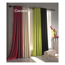 "Evideco - Blackout Window Curtain Panels Square Grommets Cocoon - This stylish blackout window curtain panel COCOON with square grommets provides an excellent blend of fashion and blackout technology, helps to block light, reduce noise, save on energy costs and stay out of sight while adding an elegant and decorative touch to any room. Made of 100% polyester, this double-sided window curtain panel is sold individually, measures a 55""W x 102''L and is solid ."