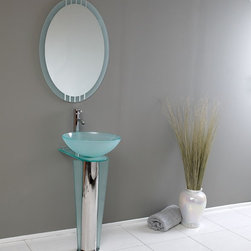 Fresca - Vitale Modern Glass Bathroom Vanity w Mirror (Tolerus Chrome) - Choose Included Faucet: Tolerus ChromeP-trap, Faucet, Pop-Up Drain and Installation Hardware Included. Single Hole Vessel Faucet Mount (Faucet Shown In Picture May No Longer Be Available So Please Check Compatible Faucet List). No overflow. Sink Color: Turquoise. Finish: Stainless Steel. Sink Dimensions: 16.5 in. x16.5 in. x5.5 in. . Mirror: 23.63 in. W x 27.5 in. H. Materials: Tempered Glass Vessel Sink, Stainless Steel. Vanity: 16.5 in. W x 20.38 in. D x 34.38 in. HThis simply constructed jewel tone chrome stand and gently sloping tall clear glass basin are ideal for simple living with a touch of class and modern charm. Versatile for any decor. Quietly interesting and chic without being disruptive. Comes with matching frosted edge mirror.