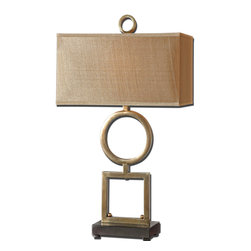 Uttermost - Rashawn Coffee Bronze Table Lamp - Metal base finished in a plated coffee bronze with matte black foot. The rectangle box shade is a silken golden champagne fabric.