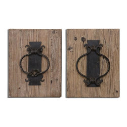 Uttermost - Rustic Door Knockers Wall Art Set of 2 - Metal door knocker replicas are finished in rustic bronze accented with a lightly stained wood background.