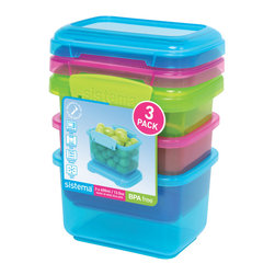 Sistema Klip It 400 ml Container 3 Pack - Great for kids lunch boxes the Sistema Klip It 400 ml containers come 3 to a pack in fun colors that kids will love! Efficient easy opening locking clips plus a rubberized seal ensures that food stays fresher longer. BPA Free made in New Zealand from 100% lead free virgin materials.