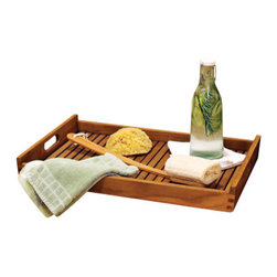Thos. Baker - Teak Tray  From The Bainbridge Collection - Carry, store or serve from this substantial teak tray featuring dovetail joints and sturdy, easy-to-grip handles. Perfect for your home spa setting, poolside parties or a family dinner on the patio.Our teak spa collection boasts a rich, natural look while solving storage and seating needs outdoors and in. Ideal for poolside accents, outdoor living accessories or turning your master bath into a relaxing home spa. Made from premium teak timber, fairly harvested from plantation grown trees over 40 years old.