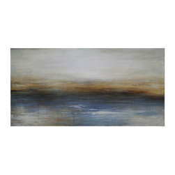 Ren-Wil - Calm Seas Rectangular Painting - The textures and movement on the canvas bring this abstract sea scape to life. The combinations of blues, browns and greys create the soft and warm image of the seas.