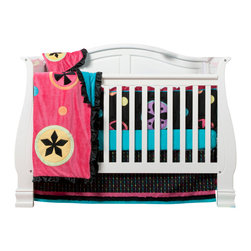 "Magical Michayla - Infant Set (4pc) - Let the ""Magic"" of ""Magical Michayla"" come to life in a room filled with color!  Bold black surrounded by Kaleidoscope like patterns showcased in hues of pink, blue, green, yellow, purple and orange make this collection perfect for all personalities.  This 4pc set includes:  4pc bumper, crib bed skirt, crib sheet, and a coordinating medium quilt.  4pc bumper is a combination of ""One Grace Place"" designer cotton print fabric and soft minky fabric.  Bumper is full of detail with welting in our signature turquoise blue and gorgeous ruffle trim in pink.  Bed skirt showcases ""Magical Michayla"" magic rows cotton print fabric trimmed in pink, black and turquoise fabric creating a simplistic detail to final touches on this collection.  Crib sheet accents the ""Magical Michayla"" designer print fabrics in our solid turquoise blue.  Offered in cotton fabric.  Magical Michayla coordinating quilt is like no other.  Soft minky on both sides make this the perfect blanket anytime and anywhere!  Pink on one side with detailed appliqu�s in Kaleidoscope patterns with turquoise blue on the opposite side.  Quilt is trimmed in black satin to make this the softest of quilts.  SAVE WHEN YOU BUY AS A SET!"