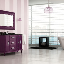"macral - Macral Design Products - Master Bathroom Vanity. Venezia 60"" 5/8. Aubergine gloss. 1 sink design."