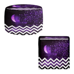 DiaNoche Designs - Ottoman Foot Stool - Purple Moon Chevron - Lightweight, artistic, bean bag style Ottomans. You now have a unique place to rest your legs or tush after a long day, on this firm, artistic furtniture!  Artist print on all sides. Dye Sublimation printing adheres the ink to the material for long life and durability.  Machine Washable on cold.  Product may vary slightly from image.