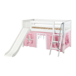 Maxtrix - Wow Girl Slat Low Loft Tent Bed with Slide - MXTX197 - Shop for Bunk Beds from Hayneedle.com! In a beautiful and non-toxic white finish the Wow Girl Slat Low Loft Tent Bed with Slide features hanging panels which creates a fun play space beneath the bed your child is sure to love. The slide and ladder makes bedtime even more fun. Designed with safety in mind this bed is crafted from premium solid birch hardwood has an angled ladder with handrail and meets or exceeds ASTM standards.Additional FeaturesSlide provides a fun way to get upIncludes an extra-tall guardrailSlatted endsLow loft area provides plenty of extra space underneathMeets or exceeds ASTM standardsWe take your family's safety seriously. That's why all of our bunk beds come with a bunkie board slat pack or metal grid support system. These provide complete mattress support and secure the mattress within the bunk bed frame. Please note: Bunk beds and loft beds are only to be used by children 6 years of age or older.