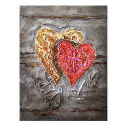 Yosemite - Yosemite FCF6445-1 Two Hearts Beat as One Wall Art - Yosemite FCF6445-1 Two Hearts Beat as One Wall ArtHeavily textured, abstract painting of an overlapping red and gold heart rendered on a background of brown and gray. Yosemite FCF6445-1 Features: