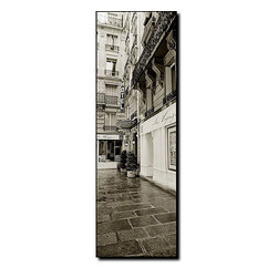 Trademark Fine Art - Preston 'Hotel in Paris' Ready-to-hang Canvas Art - Hotel in Paris,' a fine piece of black-and-white canvas art from the collection of Eric Mull,provides guests with a candid view onto a French high-rise. At once striking and subtle,this piece is a welcome addition to the art enthusiast's home.