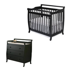 Da Vinci - DaVinci Emily Mini 2-in-1 Convertible Wood Baby Crib Set With Changing Table in - Da Vinci - Baby Crib Sets - M4798EM4755Epkg - DaVinci Emily Mini 2-in-1 Convertible Wood Baby Crib Set With Changing Table in Ebony
