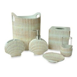 Bathsense Llc - Shore Bath Waste Basket - The seashell motifs of the Shore Bath Ensemble will bring the texture and splendor of the beach to your bathroom. This Tissue Boutique will be a fresh update to your bathroom.