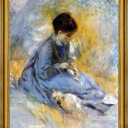 "Pierre Auguste Renoir-16""x20"" Framed Canvas - 16"" x 20"" Pierre Auguste Renoir Young Woman with a Dog framed premium canvas print reproduced to meet museum quality standards. Our museum quality canvas prints are produced using high-precision print technology for a more accurate reproduction printed on high quality canvas with fade-resistant, archival inks. Our progressive business model allows us to offer works of art to you at the best wholesale pricing, significantly less than art gallery prices, affordable to all. This artwork is hand stretched onto wooden stretcher bars, then mounted into our 3"" wide gold finish frame with black panel by one of our expert framers. Our framed canvas print comes with hardware, ready to hang on your wall.  We present a comprehensive collection of exceptional canvas art reproductions by Pierre Auguste Renoir."
