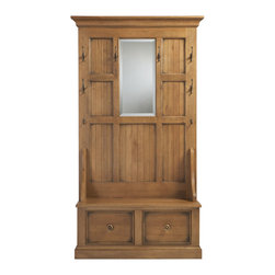 Ethan Allen - Logan Hall Tree - Our paneled Logan hall tree brings a casual feeling  -  and welcoming practicality  -  to a foyer or a mudroom.  An expert multitasker. It has two large drawers, six big hooks, two small hooks and an elegant and useful beveled mirror.