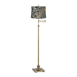 "Lamps Plus - Traditional Westbury Blue Velvet Paisley Brass Swing Arm Floor Lamp - Adjustable floor lamp. Antique brass finish. Velvet floral paisley drum lamp shade. Convenient swing arm feature. Maximum 100 watt or equivalent bulb (not included). On/off switch on socket. 62"" to 70"" adjustable height. Shade is 13"" across the top 14"" across the bottom 10"" on the slant. 13"" maximum arm extension. 20 1/2"" square base.  Adjustable floor lamp.  Antique brass finish.  Velvet floral paisley drum lamp shade.  Convenient swing arm feature.  Maximum 100 watt or equivalent bulb (not included).  On/off switch on socket.  62"" to 70"" adjustable height.  Shade is 13"" across the top 14"" across the bottom 10"" on the slant.  13"" maximum arm extension.  9 1/2"" square base."