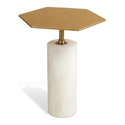 Interlude - Beck Stone Side Table - Ant. Brass - The Beck Stone Side Table features a brass geometric top for creative bunching.