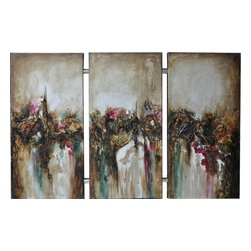 Crestview Collection - Crestview Collection Turbulence Joined Hand-Painted Stretched Canvas Wall Art X- - Crestview Collection Turbulence Joined Hand-Painted Stretched Canvas Wall Art X-8221POTVC