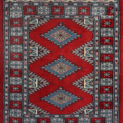 """ALRUG - Handmade Red/Burgundy Oriental Jaldar Rug 2' x 2' 11"""" (ft) - This Pakistani Jaldar design rug is hand-knotted with Wool on Cotton."""