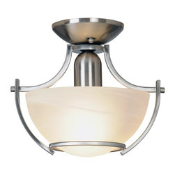 Premier - One Light 14.75 feet Flush Mount - Brushed Nickel - Brighten any room with the stylish design and striking curves of this semi-flush mount ceiling fixture. It features a beautiful brushed nickel finish and an alabaster glass globe.
