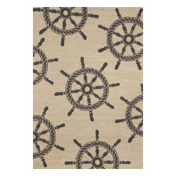 """Trans-Ocean Inc - Ship Wheel Black 5' x 7'6"""" Indoor/Outdoor Rug - Richly blended colors add vitality and sophistication to playful novelty designs. Lightweight loosely tufted Indoor Outdoor rugs made of synthetic materials in China and UV stabilized to resist fading. These whimsical rugs are sure to liven up any indoor or outdoor space, and their easy care and durability make them ideal for kitchens, bathrooms, and porches; Primary color: Neutral;"""