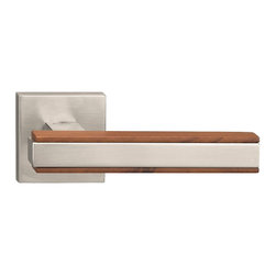 Door Lever Set Munich, Mate Satin Steel Effect with Lacquer Wengue Wood - This modern and stylish lever set will enhance your interior door and makes it a true conversational piece. It is from solid cast iron and available in different finishes. The set includes the handles on both sides, both rosettes and the mortise lock for passage or privacy. This lever set is made for custom doors that are not pre-hung or prepped for standard handles.