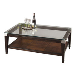 Bassett Mirror - Floating Glass Top Rectangular Cocktail Table - Bring this stylish coffee table into your home and enjoy functional use with elegant appeal. The floating glass top rests over a solid oak frame and the lower shelf is perfect for both storage and display. Comes with a walnut finish. Dunhill Collection. Lower shelf for extra storage. Designed with brushed nickel corners. Made of Parquet Oak. No assembly required. 50 in. W x 30 in. D x 18 in. H (121 lbs.)