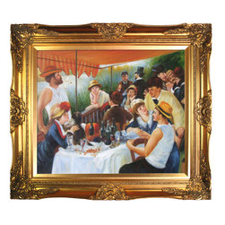 "overstockArt.com - Renoir - Luncheon of the Boating Party - 20"" X 24"" Oil Painting On Canvas Hand painted oil reproduction of a famous Renoir painting, Luncheon of the Boating Party. The original masterpiece was created in 1880-1881. Today it has been carefully recreated detail-by-detail, color-by-color to near perfection. The painting depicts a group of Renoir's friends relaxing on a balcony along the Seine River. Renoir's future wife is the one playing with the small dog. In this painting Renoir has captured the joy of the middle class of late 19 century France, it is a lively painting that brings happiness and excitement to any room. This work of art has the same emotions and beauty as the original. Why not grace your home with this reproduced masterpiece? It is sure to bring many admirers!"