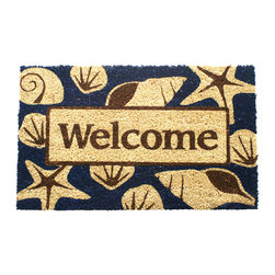 Entryways - Beach Welcome Non Slip Coconut Fiber Doormat - This beautifully designed doormat will enhance your entry way or patio. It's made from the highest quality all natural coconut fiber with a PVC non slip backing.