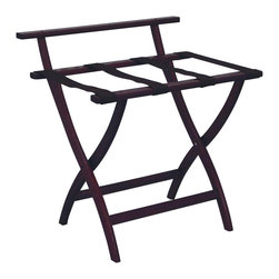 """Wooden Mallet - Luggage Rack w Brown Webbing in Dark Red Maho - Our unique """"Wall Saver"""" feature prevents costly wall damage. Has multiple uses when it doubles as a breakfast tray holder or blanket stand. Folds flat and is easily stored in a closet or against a wall when not in use. Four 2 in. woven straps support heavy suitcases. Graceful, curved legs add a designer flair. Rated to hold suitcases up to 100 lbs.. Built using solid oak construction and state-of-the-art finish for heavy use and lasting beauty.  Made in the USA. No assembly required. All Wooden Mallet products are warranted for 1 year against defects in materials and workmanship. Overall: 29.5 in. L x 23.75 in. W x 18 in. H (7 lbs.). Open: 29.5 in. L x 23.75 in. W x 18 in. H. Closed: 29.5 in. L x 23.75 in. W x 4.5 in. HGive your guest room the feeling of a four star hotel with this beautiful luggage rack. Built using solid oak and sturdy webbing, even the heaviest suitcases are easily supported by the four 2 in. wide woven straps. Our unique """"Wall Saver"""" feature prevents costly wall damage. This luggage rack has multiple uses when it doubles as a breakfast tray holder or blanket stand. These luggage racks fold and unfold easily. Take it out for guests, and then fold it up for easy storage. It is also a great in the master bedroom for packing suitcases for business trips or vacations."""