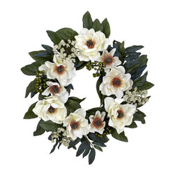 """Nearly Natural - 22 in. Magnolia Wreath - Create your own desert oasis. Rich, fleshy textured piece. Add a bold masculine appeal to any space. Construction Material: Polyester material, plastic, Iron. 22 in. W x 22 in. D x 22 in. H ( 2 lbs. )Looking for a decoration that's soft, beautiful, and timeless? Then look no further than this beautiful magnolia wreath. Lovely greens (complete with """"berries and buds"""") twist and turn, creating the ideal backdrop for the billowy white blooms that spring forth.  This makes for a perfect wall accent year round', and also makes an ideal gift for that hard to buy for person."""