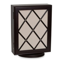 Mele & Co. - Mele & Co. Java Ripley Glass Wood Jewelry Box - The java finish of this Mele & Co. revolving wood jewelry case complements many styles and décor. The mirrored door closes with a magnetic catch.