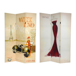 Oriental Furniture - 6 ft. Tall Double Sided Vintage Weekend Canvas Room Divider - Paris - This unique screen is adorned with vintage graphic art. On one side is a 1920's Paris, France travel poster; the other is an eye catching impressionist style drawing of a dark red evening gown. Simple, subtle, attractive imagery and rich colors make this screen a beautiful decorative accent for any room: living room, bedroom, dining or kitchen. A wonderful burst of color and shape that lifts the spirits of the space and the occupants. Each side has a different image as shown.