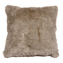 Pillow Decor - Pillow Decor - Tundra Hare Faux Fur 20 x 20 Throw Pillow - With coloring similar to the summer molt of the Tundra Hare, this grayish brown faux fur throw pillow is perfect as a soft, subtle addition to you sofa, sectional or cozy nook. A one inch fur length makes this an exceptionally plush and luxurious pillow. It's generous proportions also make it ideal as a lounge pillow on the floor.