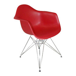 """2 Eiffel Molded Chrome Arm chairs, Red - This versatile, contemporary chair is a barebones take on the shape of an armchair. The seat of Eiffel chair is made from a very heavy-duty, strong plastic with a matte finish and is supported by an equally strong steel base, which is covered with a layer of high-shine chrome. The eiffel wire base chair has an """"Eiffel Tower"""" style steel base and plastic shell seat. Four black feet are included to protect hardwood flooring. Very up-to-date, your inner sense of style will revel in the trendiness of this chair. Add several Eames Era Eiffel Base Side Chairs around your kitchen table, and watch as the room is instantly transformed with a classic retro-inspired look. This versatile chair is a popular choice for kitchens, and works just as well as additional seating in the living room, bedroom, or office."""