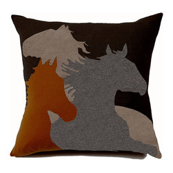 Rani Arabella - Rani Arabella Orange Horse Cashmere Blend Pillow - Earth tones and horse images combine to give the Horse Cashmere Blend Pillow its unique, Southwestern look. Made from 70% cashmere and 30% wool, this pillow features overlapping horse silhouettes in shades of terra orange, chocolate, taupe and gray. Includes a 50% down and 50% polyester insert. Dry clean only. Made in Italy.
