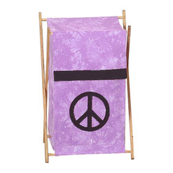 "Sweet Jojo Designs - Purple Peace Hamper - The Purple Peace Hamper by Sweet Jojo Designs will add a designers touch to any childs room. This childrens laundry clothes hamper has a wooden frame, mesh liner, and a fabric cover.The removable hamper body is secured to the wooden frame with corner loops and Velcro. The wooden stand folds flat for space-saving storage and the removable mesh liner is great for toting laundry.Dimensions: 15.5"" Length x 16"" Width x 26.5"" Height.If you like the Purple Peace Hamper Hamper, dont forget to check out the other items in the collection."