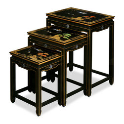 "China Furniture and Arts - Hand Painted Scenery Design Nesting Tables - This exquisite set of wooden nested tables can be used individually or to the delight of your own artistic arrangement. Over the black lacquer shinny surface each table is magnificently hand painted with gold Chinese scenery design. Highly functional and stylish. Fully assembled. (18""x13""x24"", 15""x11.5""x20"", 12""x10""x16"")"