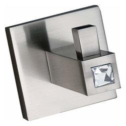 Alno Inc. - Alno Contemporary Ii Crystal Crystal Robe Hook Satin Nickel C8480-Sn - Alno Contemporary Ii Crystal Crystal Robe Hook Satin Nickel C8480-Sn