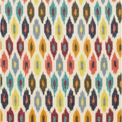 F. Schumacher - Sunara Ikat  Fabric - This exquisite ikat textile will enlighten your home with its gemstone color-enriched diamond print. Fashioned by F. Schumacher from pure cotton, this fabric offers something old, new, blue, and bedazzling.