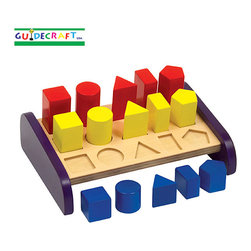 Guidecraft - Guidecraft 3 in a Row Sorter - Sort the color-code graduated geometric shapes by color or size. Mix and match to create size or color patterns. Develop geometric recognition, counting, and shape sorting skills. Improves fine-motor skills. Sturdy wooden construction with rounded corners and smooth edges, safe non-toxic paints with a clear finish. Raised base accommodates floor or tabletop play. AGES 1+.