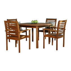 International Home Miami Corp - International Home Miami Amazonia 5 Piece Round Dining Set in Brown - International Home Miami Corp - Patio Dining Sets - BT Round set - Enjoy a lovely dinner with friends and family with the Milano Round 5 Piece Set. It has a table and 4 armchairs. The slated wooden design of the chairs ensures comfort while the spacious table is sturdy and perfectly designed. This round set in a warm light brown shade lends attractive appeal to your outdoor decor. Exquisitely constructed from environment-friendly eucalyptus wood, it is durable.