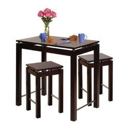 Winsome Wood - Linea Pub Kitchen Table with Stool, Set of 3 - This 3 piece Kitchen Island Table with Stools, feature a large table in espresso finish with chrome accent. Sit on this great look stools. Perfect for any kitchen.